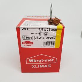 Кровельные саморезы Klimas Wkret-Met 4,8х35 мм по дереву (250 шт ) с резиновой шайбой EDPM для металлочерепицы Окраска RAL 8003 Глиняный коричневый