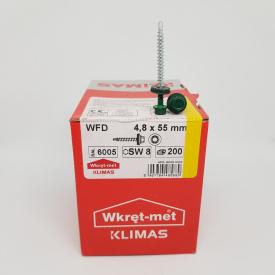 Кровельные саморезы Klimas Wkret-Met 4,8х55 мм по дереву (200 шт ) с резиновой шайбой EDPM для металлочерепицы Окраска RAL 6005 Зеленый мох Зеленый