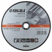 Круг отрезной по металлу и нержавеющей стали 230х2.0х22.2 мм 6650 об/мин SIGMA (1940311)