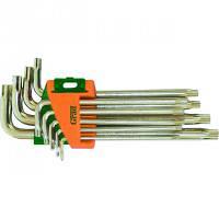 Ключи TORX 9 шт T10-T50 мм CrV средние с отверстием GRAD (4022285)