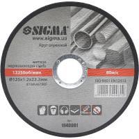 Круг отрезной по металлу и нержавеющей стали 125х1.2х22.2 мм 12250 об/мин SIGMA (1940081)