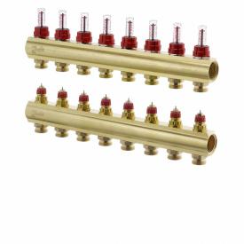 """Коллектор латунный 1"""" ВВ тип FHF с ротаметрами 8 контура - 3/4"""" Н"""