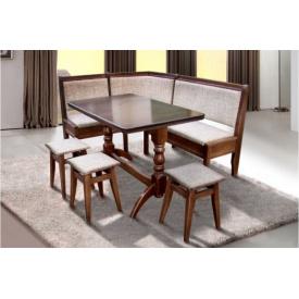 Комплект Кухонний сімейний дерев'яний зі столом та 3 табуретами Оббивка тканинна