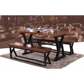 Стіл обідній з лавками GoodsMetall з металу і дерева Лофт Ріхард