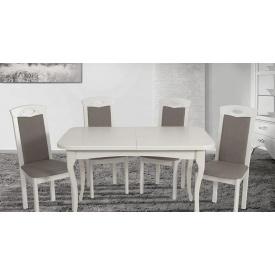 Кухонний комплект Мартін масив дерева стіл 4 стільці білий