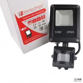 Светодиодный прожектор ElectroHouse 10W-6500K с датчиком движения