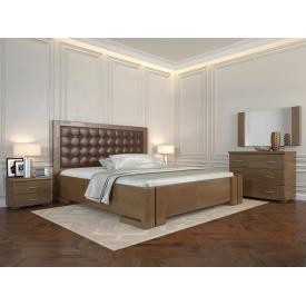 Двуспальная кровать из дерева 160х200 щит Сосны Амбер Орех