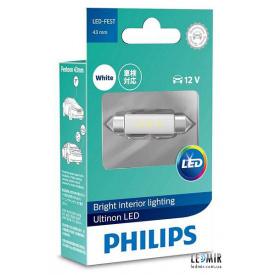 Светодиодная автолампа Philips C5W LED 12V 6000K 43MM SV8,5 комплект (1шт)