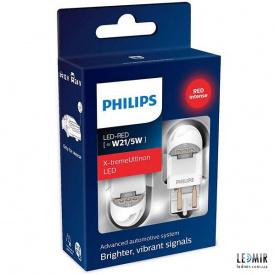 Светодиодная автолампа Philips W21/5W 12/24V 1,8W W3x16D комплект (2шт)