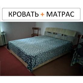 Двоспальне ліжко з матрацом 160х200 Дуб сонома + трюфель
