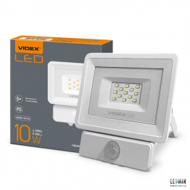 Светодиодный прожектор Videx 10W-5000K White с ИК датчиком движения