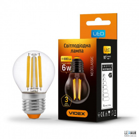 Светодиодная лампа Videx Filament G45 6W-E27-3000K