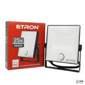 Светодиодный прожектор ETRON 1-ESP-224 25W-5000К с датчиком движения, черный