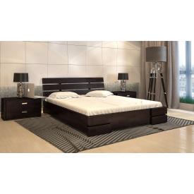 Двуспальная кровать с подъемным механизмом из дерева 160х200 щит Сосны Дали Люкс Венге магия