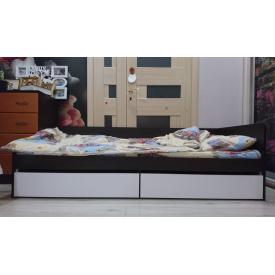 Ліжко односпальне з ящиками 80х190 Сфера 800 Венге + білий