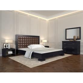 Двуспальная кровать из дерева 160х200 щит Сосны Подиум Венге