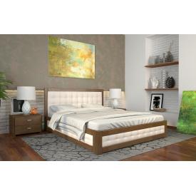 Двуспальная кровать с подъемным механизмом из дерева 160х200 щит Сосны Рената М Орех