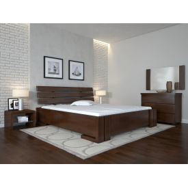 Двуспальная кровать из дерева 160х200 щит Сосны Домино Темный орех