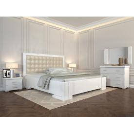 Двуспальная кровать из дерева 160х200 щит Бука Амбер Белый