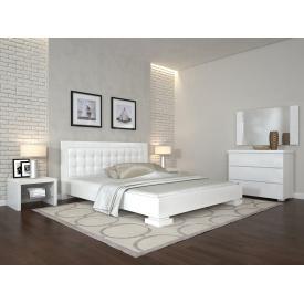 Двуспальная кровать из дерева 160х200 щит Сосны Монако Белый