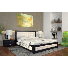 Двоспальне ліжко з підйомним механізмом з дерева 160х200 щит Бука Рената М Венге темний