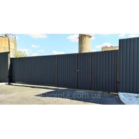 Откатные ворота профнастил промышленные 5000×2200мм