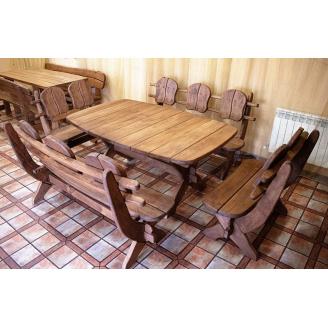 Мебель из массива термодерева 1750х1100, комплект Thermo-treated Oak Furniture. Стол и 4 лавки из термодуба