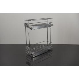 Карго Vibo 2-х уровневое бокового крепления правое для фасада 200 мм на скрытых направляющих с доводчиком полного выдвижения