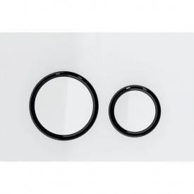 Клавиша смыва Geberit Sigma21 двойной смыв цвет металлический черный хромированный и белое стекло 115.651.SI.1