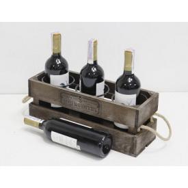 Підставка для вина Холодна ковка Прованс Ящик на 3 пляшки коричневий