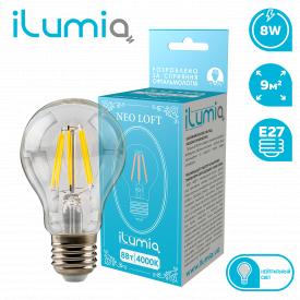 Светодиодная филаментная лампа ilumia 058 LF-8-A60-E27-NW 800Лм 8Вт 4000К