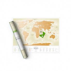 Скретч карта мира Travel Map Gold World рус.