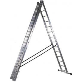 Лестница трехсекционная расскладная VIRASTAR DW 3 PROFI LIGHT алюминиевая 3х14 (DW3x14)