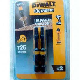 Биты ударные DeWALT IMPACT TORSION Т25, 50 мм, 2 шт (DT70534T)