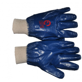 """SP-0137W Рукавичка маслостійка х / б трикотаж покрита нітрилом c в'язаним манжетом 10,5 """"синя"""