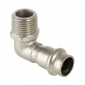 Пресс угольник с наружной резьбой Valtec нержавеющая сталь 28 мм 3/4 VTi.953.I.002805