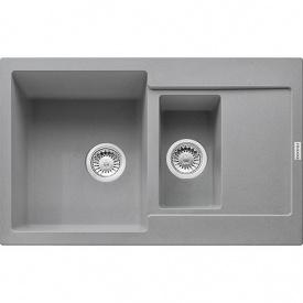 Кухонна мийка Franke Maris вбудована зверху, 1,5-камерна, з сифоном 780x500 мм, сірий камінь MRG 651-78 (114.0565.124)