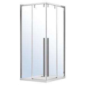 AIVA душевая кабина квадратная 100x100x195см раздвижные двери прозрачное стекло 8мм хром без поддона VOLLE 10-22-680glass