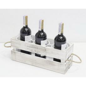 Підставка для вина Холодна ковка Прованс Ящик на 3 пляшки білий