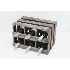 Підставка для вина Холодна ковка Прованс Ящик Горизонтальний на 6 пляшок коричневий