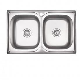 Кухонная мойка с двумя чашами Lidz 7948 0,8 мм Satin (LIDZ7948SAT8)