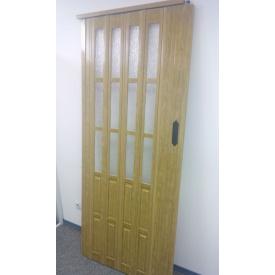 Дверь гармошка полуостекленная 860х2030х10мм. Дуб золой №6103