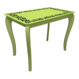 Стол обеденный стеклянный на деревянных ножках Классик 046 покраска 10 мм