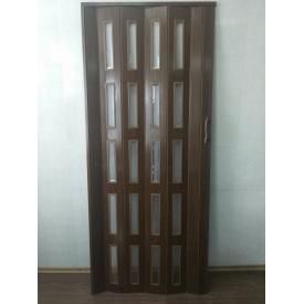 Дверь гармошка остекленная ЭКО 860х2030х6мм. Дуб Темный №7036