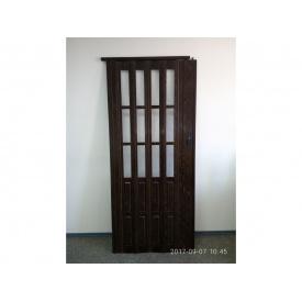 Дверь гармошка полуостекленная 860х2030х10мм. Орех №7103