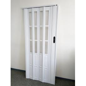 Дверь гармошка полуостекленная 860х2030х10мм Белый Ясень №9