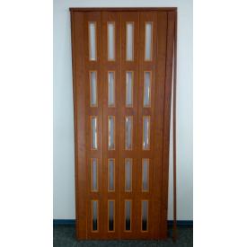Дверь гармошка остекленная ЭКО 860х2030х6мм. Дуб Канадский GLB