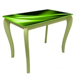 Стол обеденный стеклянный на деревянных ножках Классик 030 фотопечать