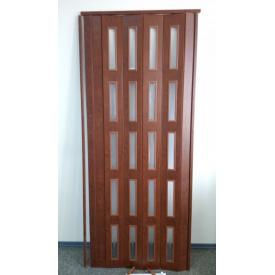 Дверь гармошка остекленная ЭКО 860х2030х6мм. Каштан №811