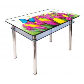 Стол обеденный прямоугольный с закругленными углами КС-1 каленое стекло 10 мм фотопечать